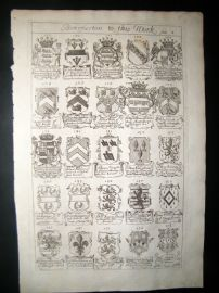 Richard Blome 1686 Folio Antique Print. Heraldry 8